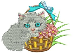 Kitty Basket embroidery design