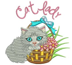 Cat Lady embroidery design
