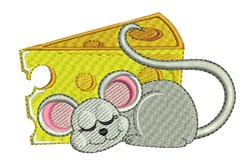 Sleepy Cheese Mouse embroidery design
