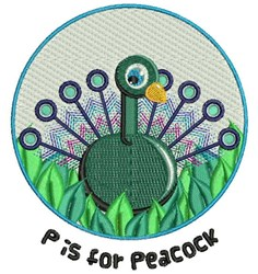 P For Peacock embroidery design
