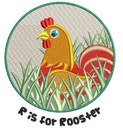 R For Rooster embroidery design