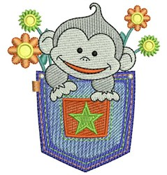 Pocket Monkey embroidery design