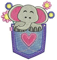 Pocket Elephant embroidery design