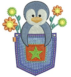 Pocket Penguin embroidery design