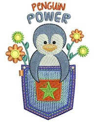 Penguin Power embroidery design