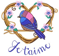 Je Taime Bird embroidery design