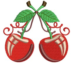 Two Cherries embroidery design