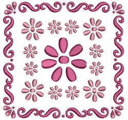 Quilting Square Flowers embroidery design