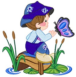 Kid & Butterfly embroidery design
