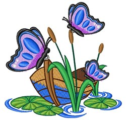 Butterfly Pond embroidery design