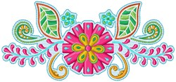 Colorful Flowes embroidery design
