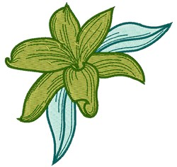 Green Lily embroidery design
