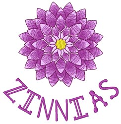 Zinnias embroidery design