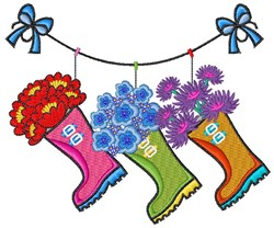 Flower Boots embroidery design