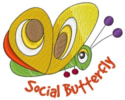 Social Butterfly embroidery design