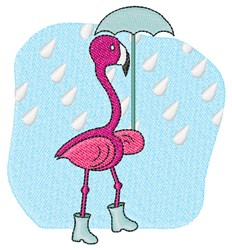 Rain Flamingo embroidery design