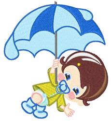 Umbrella Boy embroidery design