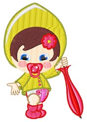 Umbrella Baby Girl embroidery design