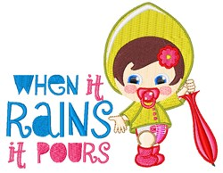 It Pours embroidery design