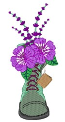 Combat Boot Flowers embroidery design