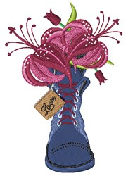 Boot Lilies Love embroidery design