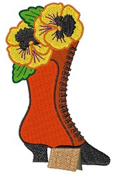 Antique Boot Pansy embroidery design