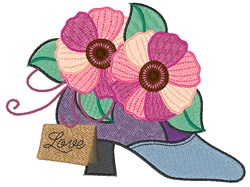 Pansy High Heel embroidery design