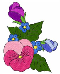 Colorful Pansy embroidery design