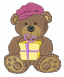 Teddy With Gift embroidery design