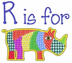 R Is For Rhino embroidery design