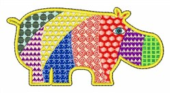 Patchwork Hippo embroidery design