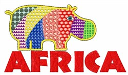 African Hippo embroidery design