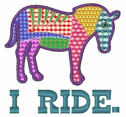 I Ride Horses embroidery design