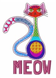 Meow Cat embroidery design