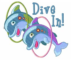 Diving Dolphins embroidery design