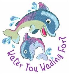 Dolphin Wading embroidery design