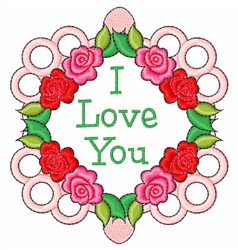 I Love You Frame embroidery design