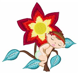 Flower And Baby embroidery design