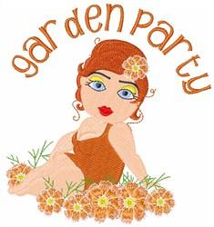 Garden Party Girl embroidery design