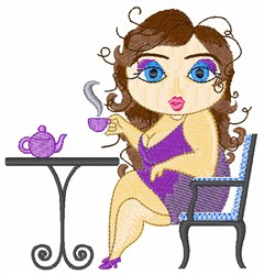 Lady Drinking Tea embroidery design