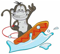Monkey Surfing embroidery design