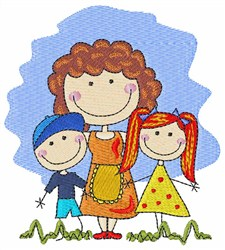 Mom And Children embroidery design