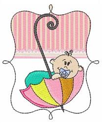 Baby In Umbrella embroidery design