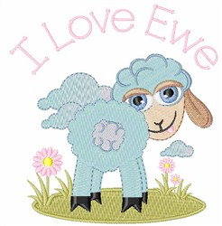 I Love Ewe embroidery design