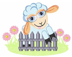 Lamb On Fence embroidery design