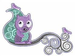 Squirrel On Branch embroidery design
