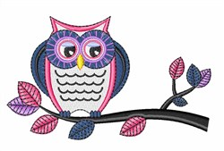 Owl On Branch embroidery design