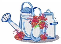 Watering Can And Flowers embroidery design