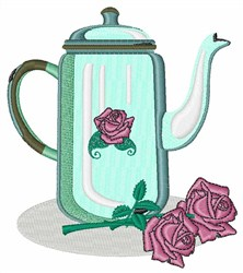 Roses And Teapot embroidery design