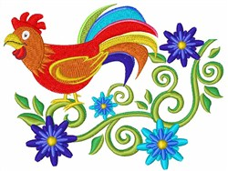 Rooster And Flowers embroidery design